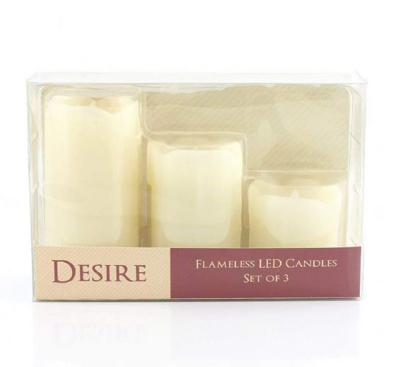Flickering LED Flameless Real Wax Candles Set of Three Dripped Wax Effect Look